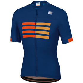 Sportful Wire Maillot de cyclisme Homme, blue twilight fire red gold